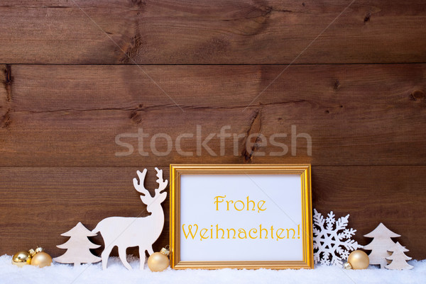 Card, Snow, Frohe Weihnachten Mean Merry Christmas Stock photo © Nelosa
