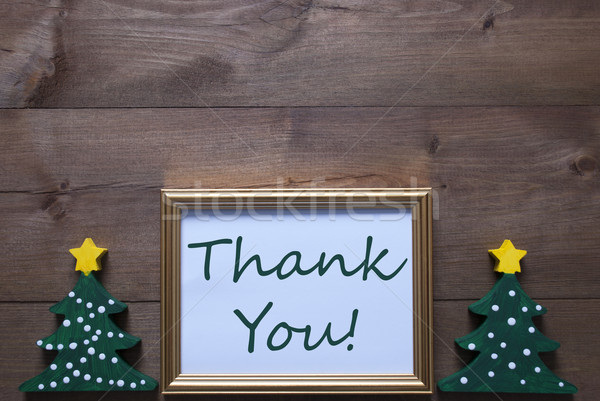 Stock photo: Picture Frame With Christmas Tree And Text Thank You