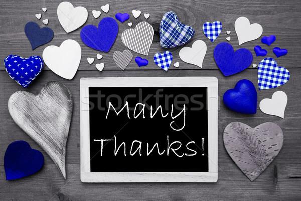 Mavi kalpler çok teşekkürler kara tahta İngilizce Stok fotoğraf © Nelosa
