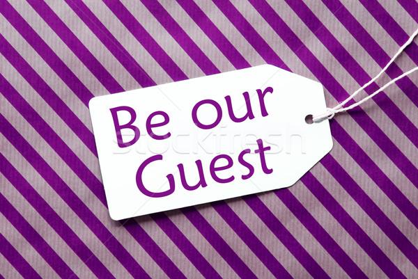 Etiqueta púrpura papel de regalo texto invitado uno Foto stock © Nelosa