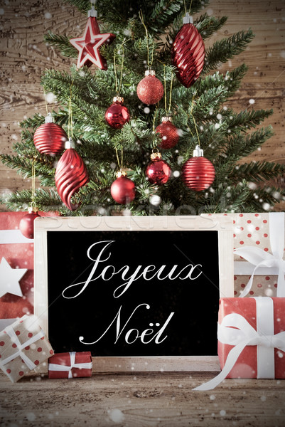 Nostalgic Tree With Joyeux Noel Means Merry Christmas Stock photo © Nelosa