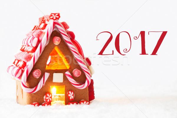 Gingerbread House, White Background, Text 2017 Stock photo © Nelosa