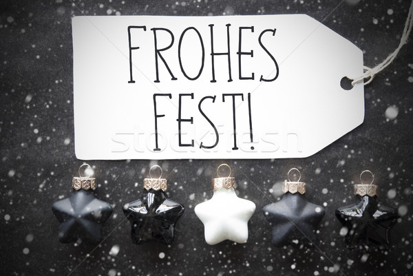 Black Balls, Snowflakes, Frohes Fest Means Merry Christmas Stock photo © Nelosa
