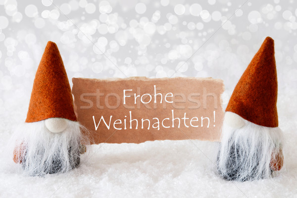 Bronze Gnomes With Card, Text Frohe Weihnachten Means Merry Christmas Stock photo © Nelosa