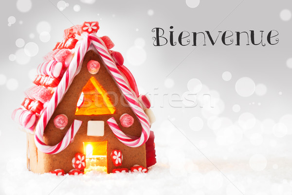 Gingerbread House, Silver Background, Joyeux Noel Means Merry Christmas Stock photo © Nelosa