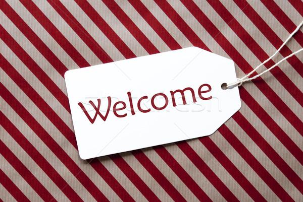 ラベル 赤 包装紙 文字 歓迎 1 ストックフォト © Nelosa