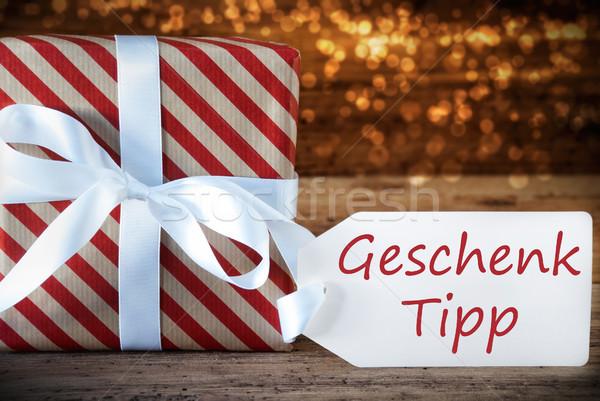 Atmosferisch christmas aanwezig label geschenk tip Stockfoto © Nelosa