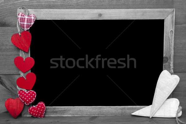 Black And White Blackbord With Red Hearts, Copy Space Stock photo © Nelosa