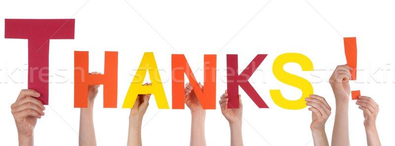 Manos gracias muchos palabra feliz Foto stock © Nelosa