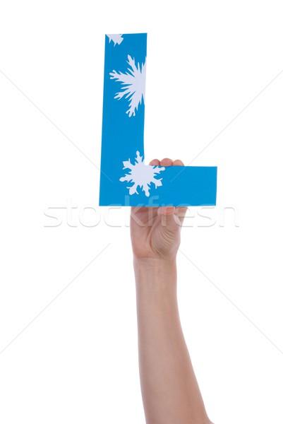 Hand Blauw letter l geïsoleerd sneeuw Stockfoto © Nelosa