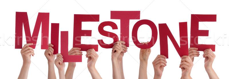 Many People Hands Holding Red Word Milestone Stock photo © Nelosa