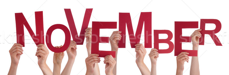 Many People Hands Holding Red Word November  Stock photo © Nelosa