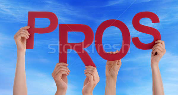 Many People Hands Holding Red Word Pros Blue Sky Stock photo © Nelosa