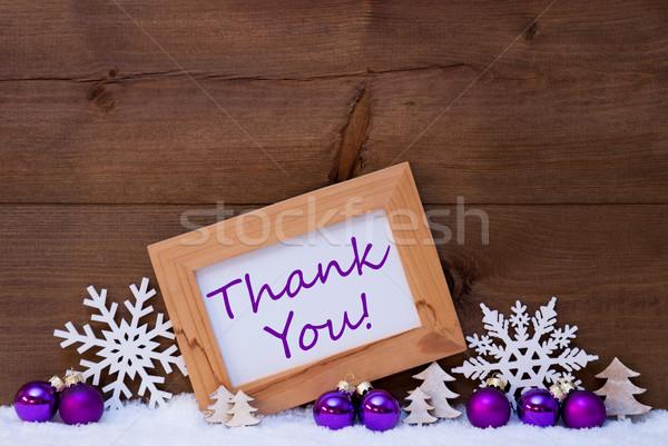 Lila karácsony dekoráció hó köszönjük karácsonyfa Stock fotó © Nelosa