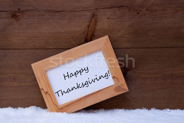 Christmas Card With Picture Frame, Happy Thanksgiving, Snow Stock photo © Nelosa