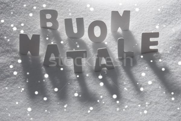 Word Buon Natale Mean Merry Christmas On Snow, Snowflakes Stock photo © Nelosa