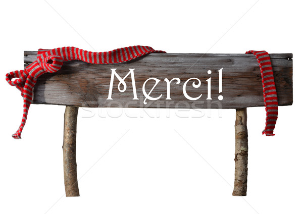Brown Isolated Christmas Sign Merci Mean Thank You, Red Ribbon Stock photo © Nelosa