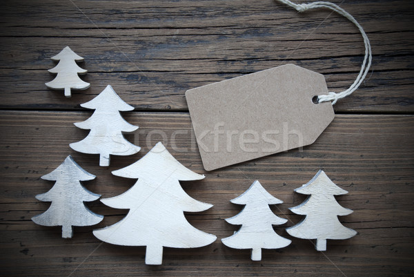 Label And Christmas Trees Copy Space Frame Stock photo © Nelosa