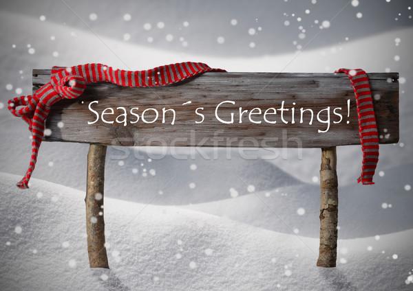 Stock photo: Christmas Sign Seasons Greetings Snowflake, Red Ribbon, Snow