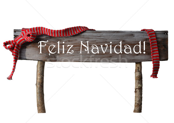Isolated Sign Feliz Navidad Mean Merry Christmas, Red Ribbon Stock photo © Nelosa