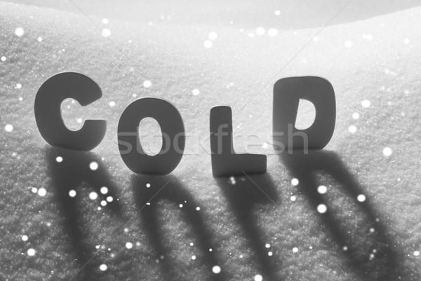 White Word Cold On Snow, Snowflakes Stock photo © Nelosa