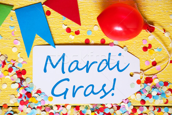 Party Label With Balloon, Text Mardi Gras, Macro Stock photo © Nelosa