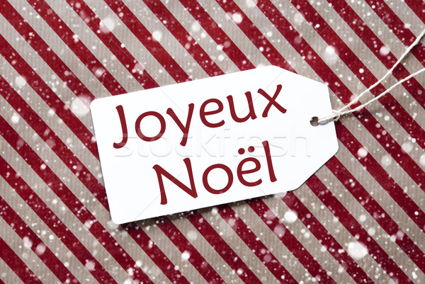 Label On Red Paper, Snowflakes, Joyeux Noel Means Merry Christmas Stock photo © Nelosa