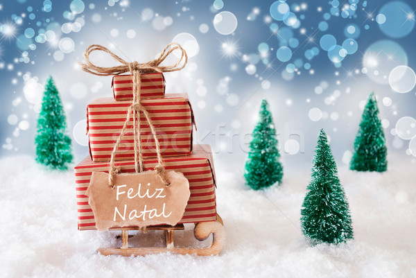 Sleigh On Blue Background, Feliz Natal Means Merry Christmas Stock photo © Nelosa