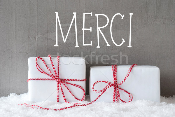 Stock photo: Two Gifts With Snow, Merci Means Thank You