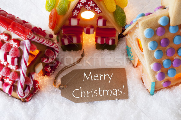 Colorful Gingerbread House, Snow, Text Merry Christmas Stock photo © Nelosa