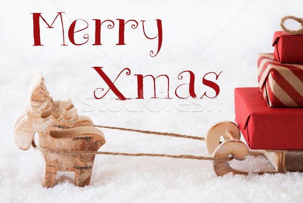 Reindeer With Sled On Snow, Text Merry Xmas Stock photo © Nelosa