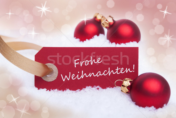 Red Tag with Frohe Weihnachten Stock photo © Nelosa