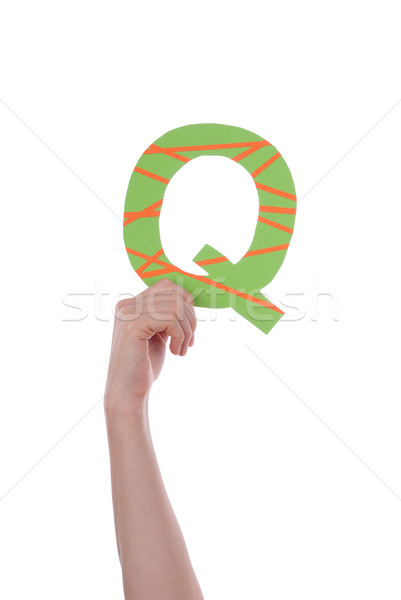 Hand Holding Q Stock photo © Nelosa