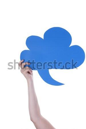 Kék üres szöveglufi kéz tart szövegbuborék Stock fotó © Nelosa