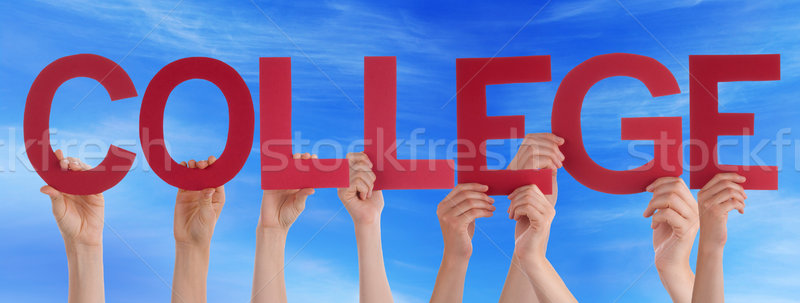 Many People Hands Holding Red Straight Word College Blue Sky Stock photo © Nelosa