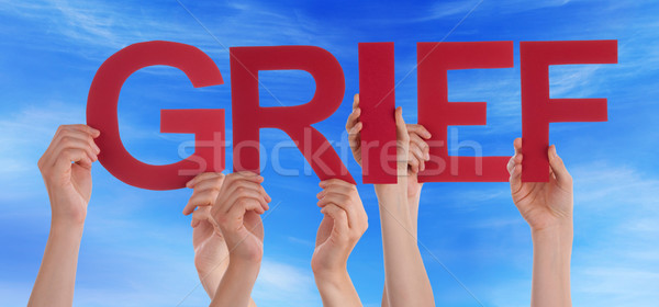Many People Hands Holding Red Straight Word Grief Blue Sky Stock photo © Nelosa