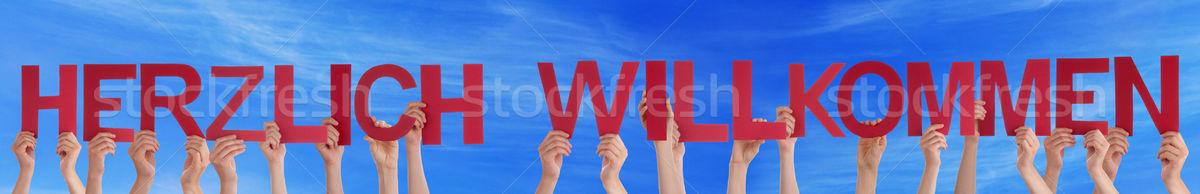 People Herzlich Willkommen Mean Welcome Blue Sky Stock photo © Nelosa