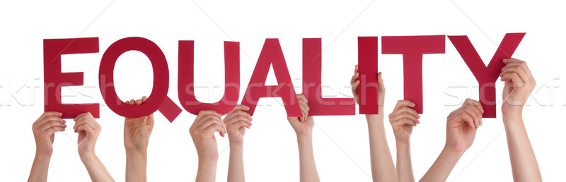 Many People Hands Holding Red Straight Word Equality Stock photo © Nelosa