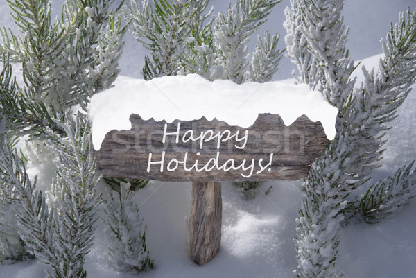 Karácsony felirat hó fenyőfa ág szöveg Stock fotó © Nelosa