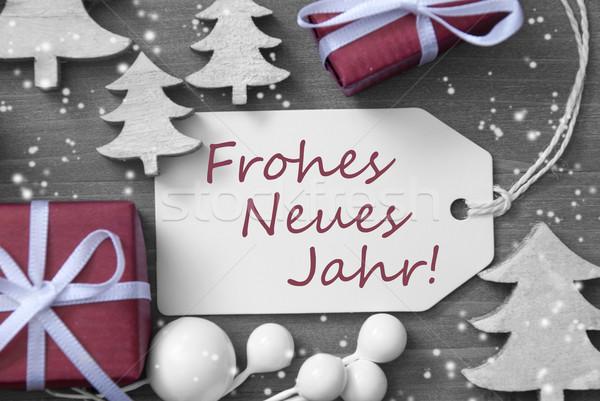 Сток-фото: Рождества · Label · подарок · Новый · год · черно · белые