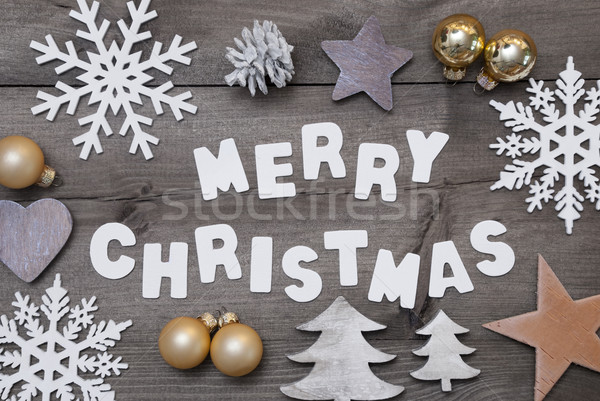 Wooden Background, Merry Christmas, Golden Decoration Stock photo © Nelosa
