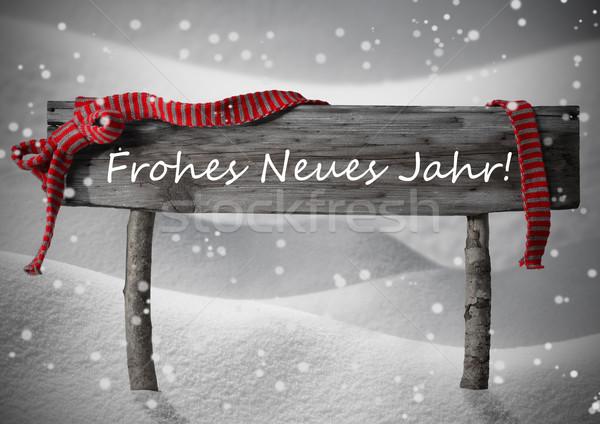 Stock photo: Christmas Sign Neues Jahr Mean New Year Snow, Ribbon, Snowflakes