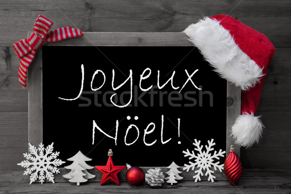 Blackboard Santa Hat Joyeux Noel Means Merry Christmas  Stock photo © Nelosa