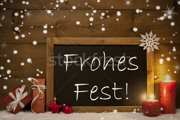 Card, Blackboard, Snowflakes, Frohes Fest Mean Merry Christmas Stock photo © Nelosa