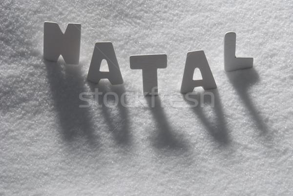 White Word Natal Mean Christmas On Snow Stock photo © Nelosa