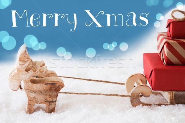 トナカイ 水色 文字 陽気な クリスマス ムース ストックフォト © Nelosa