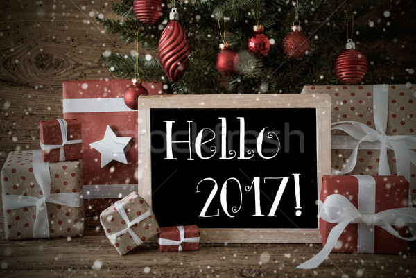 Nostalgic Christmas Tree With Hello 2017, Snowflakes Stock photo © Nelosa