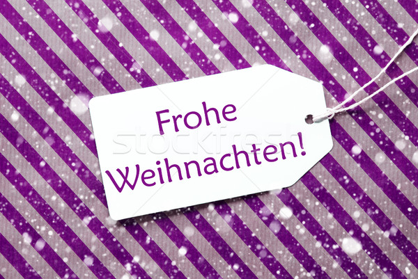Label On Purple Paper, Snowflakes, Frohe Weihnachten Means Merry Stock photo © Nelosa