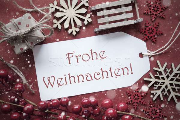 Nostalgic Decoration, Label With Frohe Weihnachten Means Merry Christmas Stock photo © Nelosa