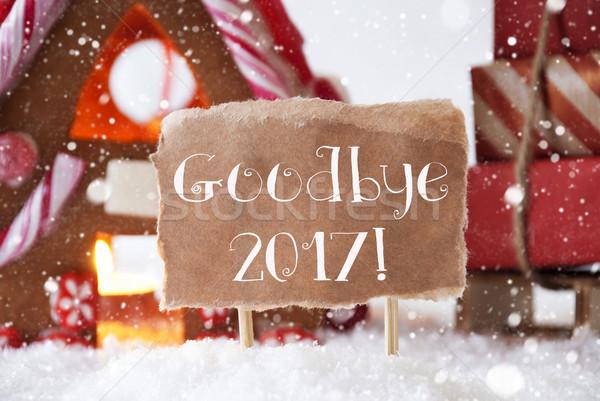 Stock fotó: Mézeskalács · ház · hópelyhek · szöveg · viszlát · díszlet
